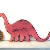 Brontosaurus (Pictured in Blush) Pine Wood Sign Wall Decor Rustic Americana French Country Chic