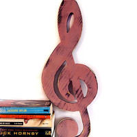 Music Note (Pictured in Mauve) Pine Wood Sign Wall Decor Rustic Americana French Country Chic