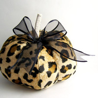 Animal Print Decorative Pumpkin Leopard Faux Fur by SeaPinks