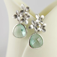 Bridesmaid Gift Prasiolite Light Green Briolette Cherry Blossom Earrings, wedding, Bridal, Unique Gift, Mothers Day, Birthday, Elegant Gift