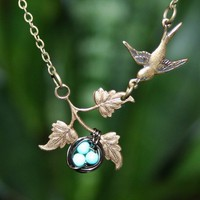 Bird Nest on Branch and Bird Necklace by smilesophie on Etsy