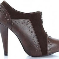 Retro Collar Brown Round Women Bootie Dress Boots