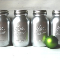 Christmas / Winter Home Decor - Vase - Painted Mason Jars - Silver Quart