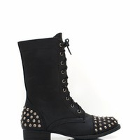 studded-mid-rise-boots BLACK BROWN TAN - GoJane.com