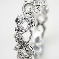 Diamond Wedding Ring with Vine and Leaf Motif, RG-3475a