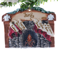 Family of 7 personalized Christmas ornament - fireplace ornament with 7 personalized stockings