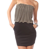 Papaya Clothing Online :: STRIPE CONTRAST TUBE DRESS