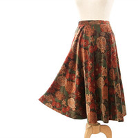 Vintage 1970s Circle Skirt Long Velvet Floral Rust Green Gold Brown