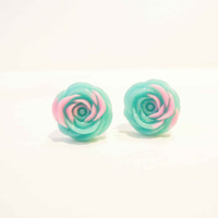 Blue and Pink Flower Ear Studs - Resin Rose Ear Studs - Post Earrings