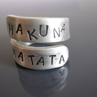 Hakuna Matata Ring, Hakuna Matata, Lion King, Disney, Free custom engraved, Twist Ring, Gifts for best friends, Adjustable Ring