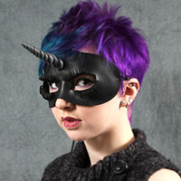 Unicorn mask in black leather