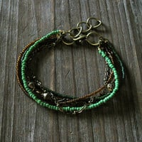 Riley Bracelet - Kelly Grass Pine Green Brown Seed Bead Mixed Antique Brass Chain Multi Strand - Adjustable Stackable Charm Boho