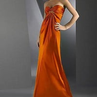 Elegant Orange Strapless Sweetheart Pleated Evening Dress - Basadress.com