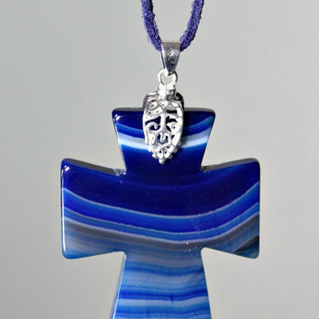 Agate Cross Pendant Necklace - Blue / White Carved Onyx Agate Stone /  Suede Cord - Statement Necklace - Unique Easter Gift -