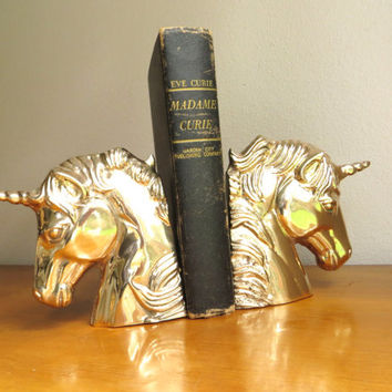 Vintage Brass Unicorn Bookends, Gold Unicorn Book Ends, Brass Mythical Horse Bookends