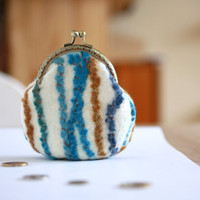 Coin purse - coin pouch - felted wool coin purse - blue - Chistmas gift