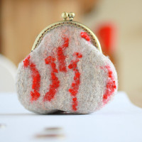Coin purse - coin pouch - felted wool coin purse - natural beige red - Chistmas gift