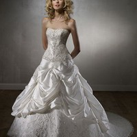 Luxury A Line Strapless Court Train Lace Sleeveless Wedding Dress-$378.99-ReliableTrustStore.com