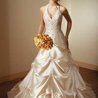Unique A Line Straps Floor Length Satin Sleeveless Wedding Dress-$362.99-ReliableTrustStore.com
