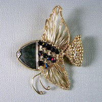 14k Gold Filled Pendant Angelfish Obsidian and Swarovski Crystal