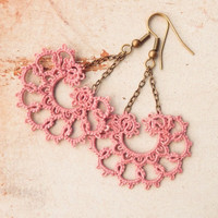 lace earrings smoky rose pink earrings /Autumn fashion / retro fashion