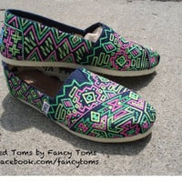 Handpainted Custom TOMS Shoes - Southwestern Design in Neon