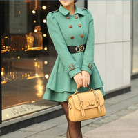 Women Fruit green Princess OL Wool coat Cashmere winter coat Hood cloak Hoodie cape Hooded Cape/clothing /jacket/dress