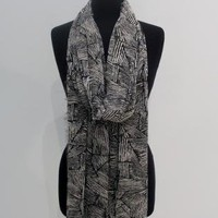 Tribal Print Chiffon Scarf in Black/White