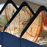 10 Nautical World Map envelope liners