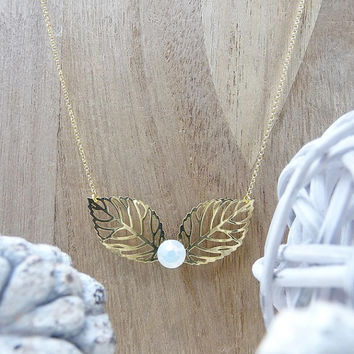 Gold Necklace, Gold Leaf Necklace, Gold Jewelry, Simple Necklace, Everyday Necklace, Opal White Crystal, Swarovski Crystal, Woodland Jewelry