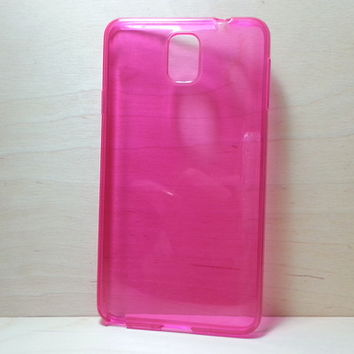 For Samsung Galaxy Note 3 Rose Pink Transparent TPU Soft Silicone Case