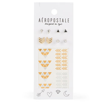 Stud Earring & Temporary Tattoo 10-Pack