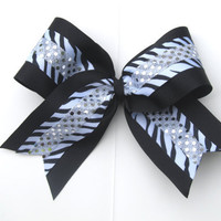 "Zebra Black Silver Bling  7"" Cheer Bow"