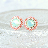 Mint peach coral ivory stud earrings - bridesmaids bridal prom jewelry unique gift - swarovski spring summer delicate earrings