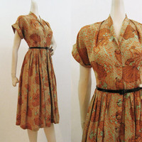 40s Dress Vintage Novelty Print Rayon Dress Fans Jewelry M