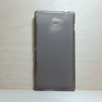 For Sony Xperia M2 Soft TPU translucent Color Case Protective Silicone Back Case Cover - Grey