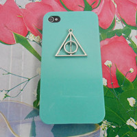 Fashion iPhone 4, 4S hard Case Cover with Deathly Hallows triangle harry potter For iPhone 4 Case, iPhone 4S Case, iPhone 4 GS case -2470