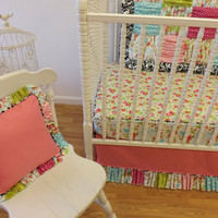 Shabby Chic BUMPERLESS Crib Bedding-  READY to SHIP-  Girl Crib Bedding