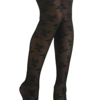 Betsey Johnson A-bowed Time Tights | Mod Retro Vintage Tights | ModCloth.com