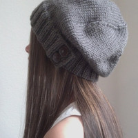 Knit slouchy hat - TAUPE - brown grayish color -  (more colors available - made to order)