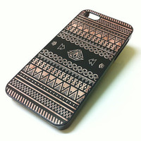 Iphone 5 Case - Geometric Aztec Pattern On Wood iPhone case for iPhone 5 - plastic or rubber
