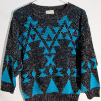 Dark Grey Aqua Blue Hipster Urban Grunge Sweater S Made in U.S.A New York Club Kid Hip Festival Wear