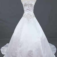 A-line Sweetheart Chapel Train Satin Wedding Dresses With Embroidery Beading Free Shipping