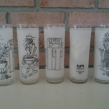 Vintage White Frosted Drinking Glasses - White Cartoon Tumblers  - Superior Collection glasses - Fun drinking Glasses - Novelty Glasses