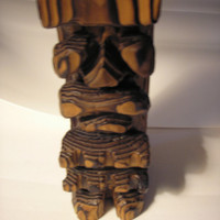 1971 Hip Originals Wooden Statue - Tiki God Of Love - Kuuipo Aloha - Made in Hawaii