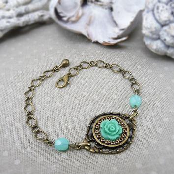 Mint Green Flower, Floral Jewelry, Brass Chain Bracelet, Vintage Inspired Wedding Bridal Bracelet, Flower Girl Bridesmaid Bracelet