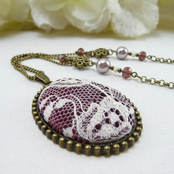 White Lace Necklace, Vintage Lace Pendant Necklace, Antique Lace Jewelry, Wine Textile Jewelry, Burgundy Velvet Necklace, Statement Necklace