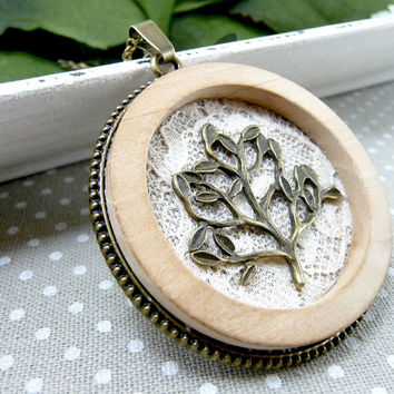 Off White Lace Necklace, Tree Pendant, Lace Pendant Necklace, Wood Pendant, Tree Necklace, Rustic Lace Jewelry, Statement Necklace