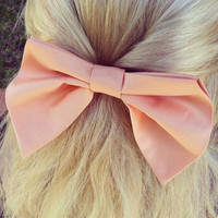 Special peach Pink BIG hair bow