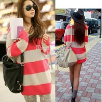 New Women&#x27;s Long Sleeve Sweater V-Neck Striped Knitwear TOP Pullover Fashion